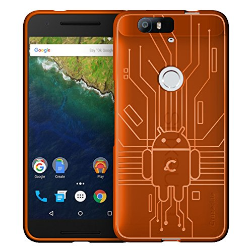 HUAWEI Nexus 6P Case, Cruzerlite Bugdroid Circuit Case Compatible for HUAWEI Nexus 6P - Retail Packaging - Orange