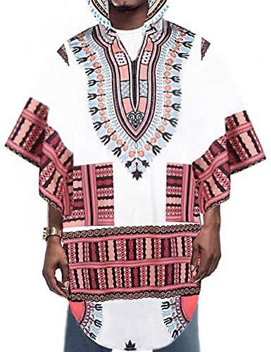Daupanzees Mens African Print Dashiki Shirts Poncho Cape Ethnic Hoodie Sweatshirts Pullover Cloak White