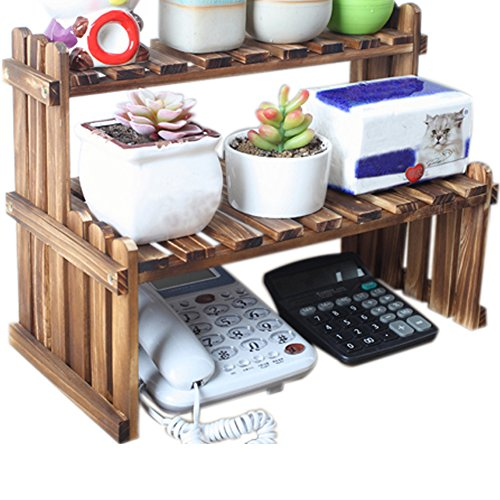(WINGOFFLY 2 Tier Tabletop Wooden Plant Stand Decorative Planter Holder Desktop Flower Pot Shelf Rack for Office Home 15.7