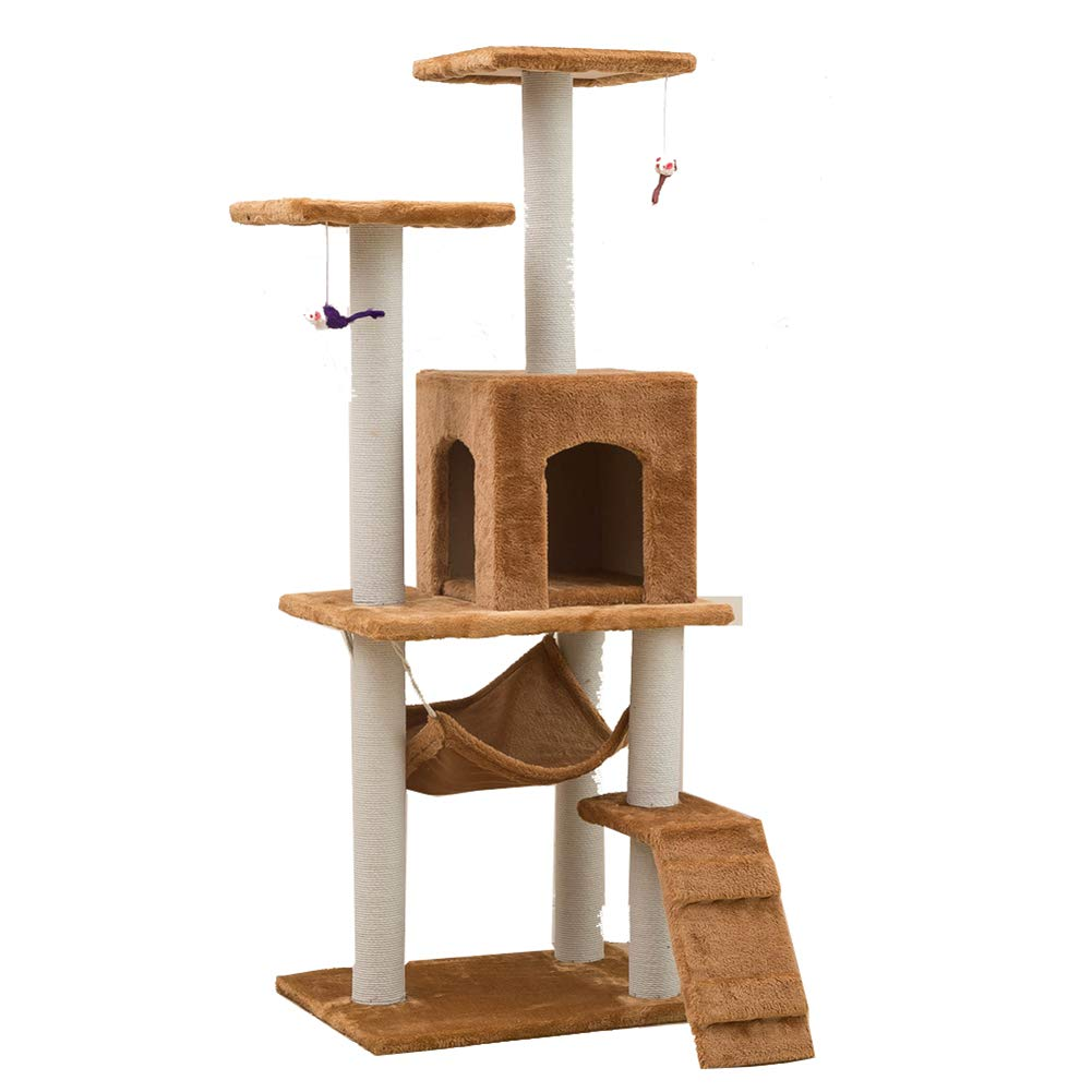 Brown Aida Bz Pet Supplies Cat Toy Cat Climbing Frame Cat Scratch Board Cat Tree Nest Sisal Rope Column Large Pet Nest,Brown