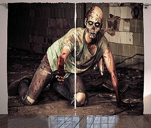 Zombie Room Darkening Curtains Halloween Scary Dead Man in Old Building with Bloody Head Nightmare Theme Blackout Drapes Grommet Window Curtains for Bedroom/Living Room 2 Panels 104 W X 90 L Inch