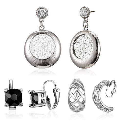 Gmai Antique Ethnic Brocade Mexico Gypsy Engraved Lotus Hook Dangle Earrings for Women and Girls (3 Pairs) ()