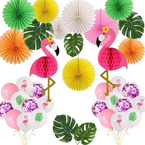 Tropical Party Decorations Pink Flamingo Honeycomb Leaves Tissue Paper Fan Flowers Balloon Party for Summer Beach Luau Hawaiian Party Supplies -