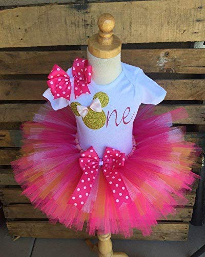 Minnie Mouse 1st Birthday Outfit.Minnie Mouse Birthday Tutu Outfit Set Dress Shirt First Birthday 1st Gold And Pink