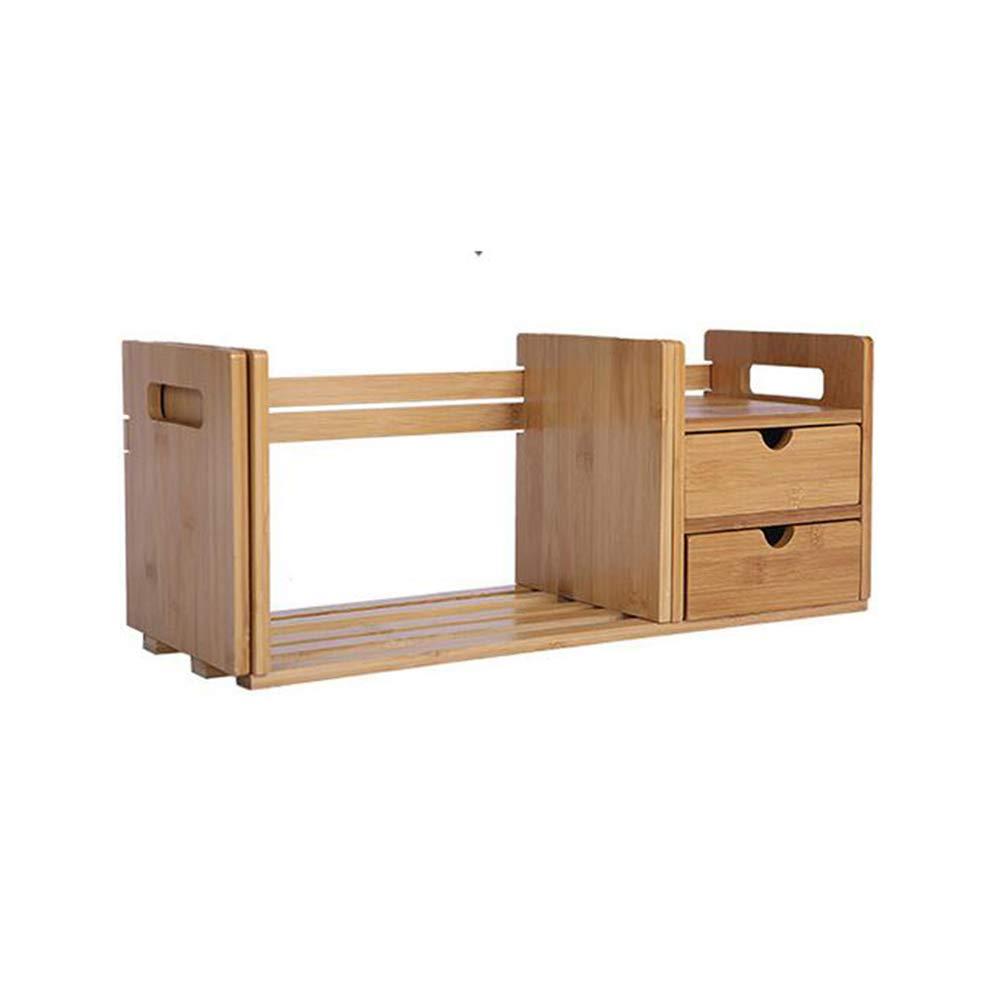Bücherregale Bambus Lager Desktop Einstellbar Erweiterbar Gestell Schubladen Veranstalter Büro Zuhause CJC (größe : 2 Drawers 80  20  20CM)