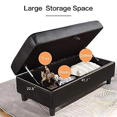 HONBAY 42'' Faux Leather Storage Bench Ottoman Rectangular Leather Bench with Storage Black Ottman with Hydraulic Rod