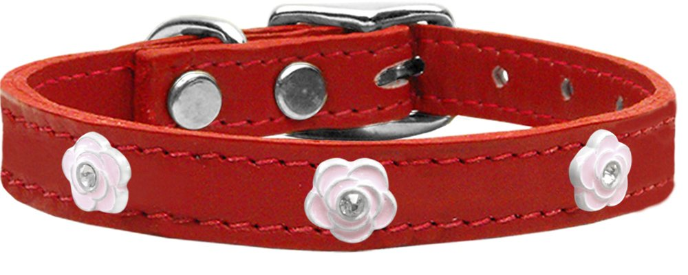 Mirage Pet Products Light Pink pink Widget Genuine Leather Dog Collar, Red, Size 10