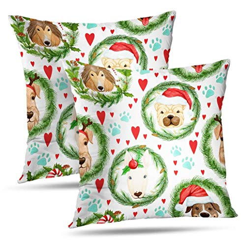 Fuatto Watercolor Cute Santa Pillowcase,Monicl Throw Pillow Covers, Pattern with New Dogs Hats and Double-Sided Cushion Cover 18 x 18 inch Set of 2 Decorative Home Bed Gift Spruce