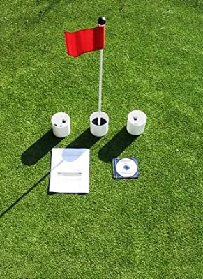 """Golf Practice Putting Green - Natural or Synthetic - Accessory Kit - (3) Bright White Plastic 4"""" Deep Regulation Cups + (1) Red Jr Flag + (1) 30"""" Fiberglass Pin Marker with Ball Lifter Disk"""