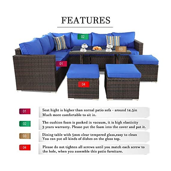 Patio Furniture Garden 7 PCS Sectional Sofa Brown Wicker Conversation Set Outdoor Indoor Use Couch Set Royal Blue Cushion - Comfortable Sectional sofa ➢ This mdern comfortable sofa set come with enough room to greet your family party,Sofa have Royal Blue cushions allow for further comfortable and better support while you sit than a traditional cushions and Sofa's table have tempered glass top to Stable hold food and drinks. Brown PE Rattan Sofa Set ➢Mimic the natural wicker material more better than natural rattan,and PE rattan easy to clean and Hand-treated rattan more antioxidant,Outdoor Indoor Use,such as Backyard Porch,Deck ,Garden Poolside,Balcony patio or Even pool Royal Blue Cushioned Sofa ➢Cushion foam is packed in vacuum.it is high elasticity,please put the foam into the Royal Blue cushion cover,then pat it,later the cushion will become plump. - patio-furniture, patio, conversation-sets - 51R9VSwepcL. SS570  -