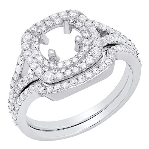 (0.80 Carat (ctw) 10K Round Diamond Ladies Semi Mount Ring Set 3/4 CT, White Gold, Size 7)