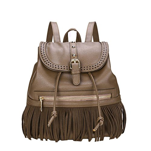 Sunyastor Women Backpack PU Washed Leather Convertible Vintage Tassel Travel Rucksack Drawstring School Bag (Coffee, One Size) by Sunyastor-bacpack