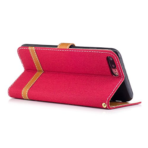 Para iPhone 7 Plus (5,5 zoll) funda, (Vaquero color azul marino) Dril de algodón de colores mezclados caja del teléfono móvil de cuero PU Leather cubierta Función de Soporte Billetera con Tapa para Ta Vaquero rojo
