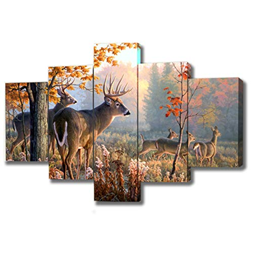 DXYJUYI Brown 5 Panel Wall Art Painting Deer in Autumn Forest Pictures Prints On Canvas Animal The Picture Decor Oil for Home Modern Decoration Print Framed Ready to - Art Decor Wall Deer