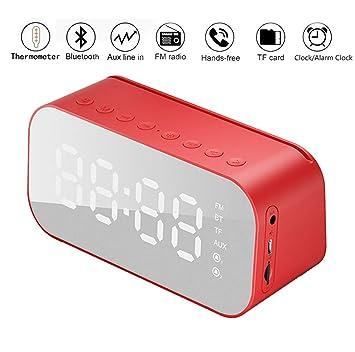 DONYKARRY Reloj Despertador con Termómetro Multifunción con Altavoz Bluetooth, Altavoz Bluetooth Reloj Despertador Inalámbrico Bass Mini Speaker ...