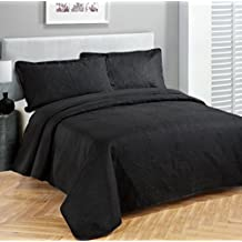 Fancy Collection Luxury 3 Pc Bedspread Bed Coverlet Solid Embossed Bedding New (King, Black)