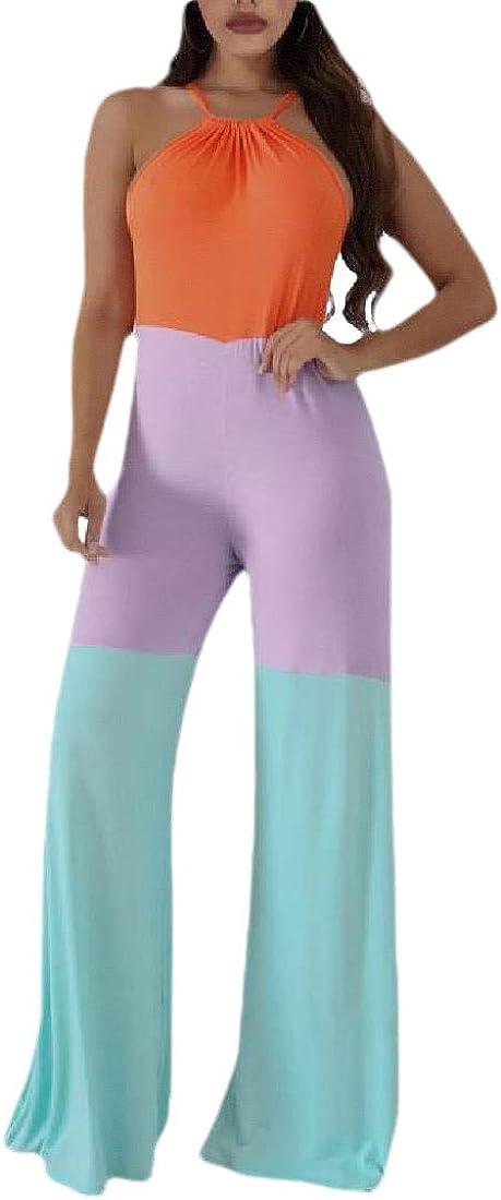 Hajotrawa Women Palazzo Romper Wide Leg Sleeveless Playsuit Halter Jumpsuit