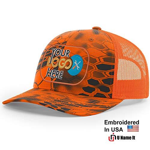 Custom Richardson 112 Hat with Your Logo Embroidered Trucker Mesh Snapback Cap (Adjustable Snapback Kryptek Camo Colorway, Inferno/Blaze Orange)