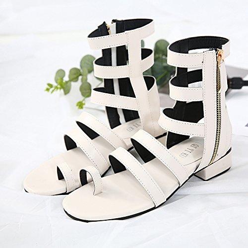 Botas Cremallera Tubo GTVERNH Cool La Roma Primavera Zapatos Lateral Sandalias Apricot Zapatos Alta En xUPxRwY