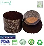 """Paper Muffin Cupcake Mold, Baking Cup Panettone mold 25ct, Non-Stick Mold All Natural FDA Approved (2-3/4"""" x 2-3/8'')"""
