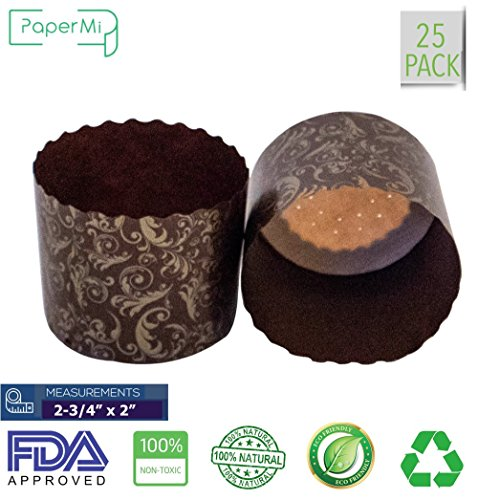 "Paper Muffin Cupcake Mold, Baking Cup Panettone mold 25ct, Non-Stick Mold All Natural FDA Approved (2-3/4"" x 2-3/8"")"