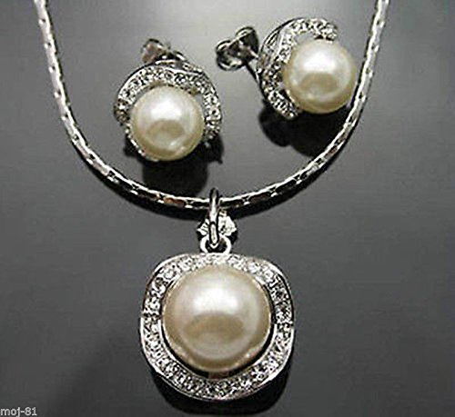 10mm/14mm White South Sea Shell Pearl Earrings & Necklace Pendant Jewelry A Set - 14mm White Shell Pearl Pendant