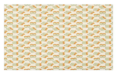 Ambesonne Flip Flop Doormat, Traditional Japanese Footwear Striped Slippers Repetitive Pattern, Decorative Polyester Floor Mat with Non-Skid Backing, 30 W X 18 L Inches, Orange Pale Pink and Khaki