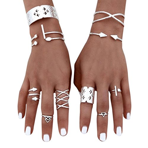 6 Pack Women Girl Wedding Ring Set Bohemian Diamond Simple Silver Stack Knuckle Band Engagement Fashion Bride Gift (Silver 6pcs) (Invisible Set Bridal Diamond)
