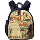 Africa Map And Tribal Ethnic Double Zipper Waterproof Children Schoolbag With Front Pockets For Youth Boys Girl