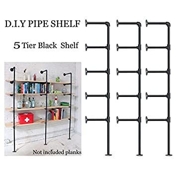 Image of FOF Industrial Retro Wall Mount Iron Pipe Shelf,DIY Open Bookshelf,Hung Bracket,Home Improvement Kitchen Shelves,Tool Utility Shelves, Office Shelves,Ceiling Mount Shelf Shelves