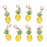 JUNKE Mini Pineapple DIY Pop Pendant Jewelry Making Keyring Accessories, Charms Gift, Pack of 8