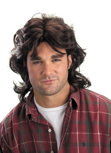 Disguise Men's Mullet Wig, Black, Adult -