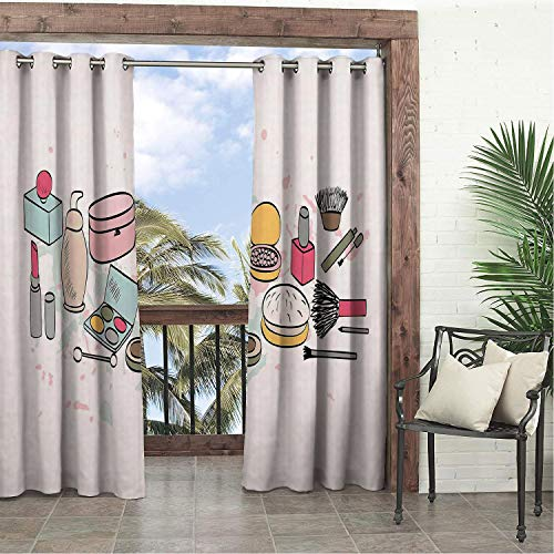 Linhomedecor Garden Waterproof Curtains Makeup Cosmetics Fashion Lipstick Mascara Perfume Pattern Girly Feminine Sketch Design Multicolor Porch Grommets Backdrop Curtains 96 by 108 inch ()
