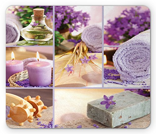 Lunarable Spa Mouse Pad, Lavender Themed Relaxing Joyful Spa Day with Aromatherapy Oils Candles Relaxation, Standard Size Rectangle Non-Slip Rubber Mousepad, Purple and White