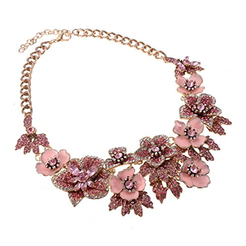 Holylove Luxury Statement Necklace for Women Chunky Choker Collar Pink Enamel Gold Chain Flower Wedding Party Formal Fashion Wear 1 pc with Gift Box - HLN67 ()