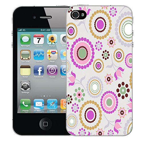 Mobile Case Mate iPhone 4s Silicone Coque couverture case cover Pare-chocs + STYLET - Pink Circle pattern (SILICON)