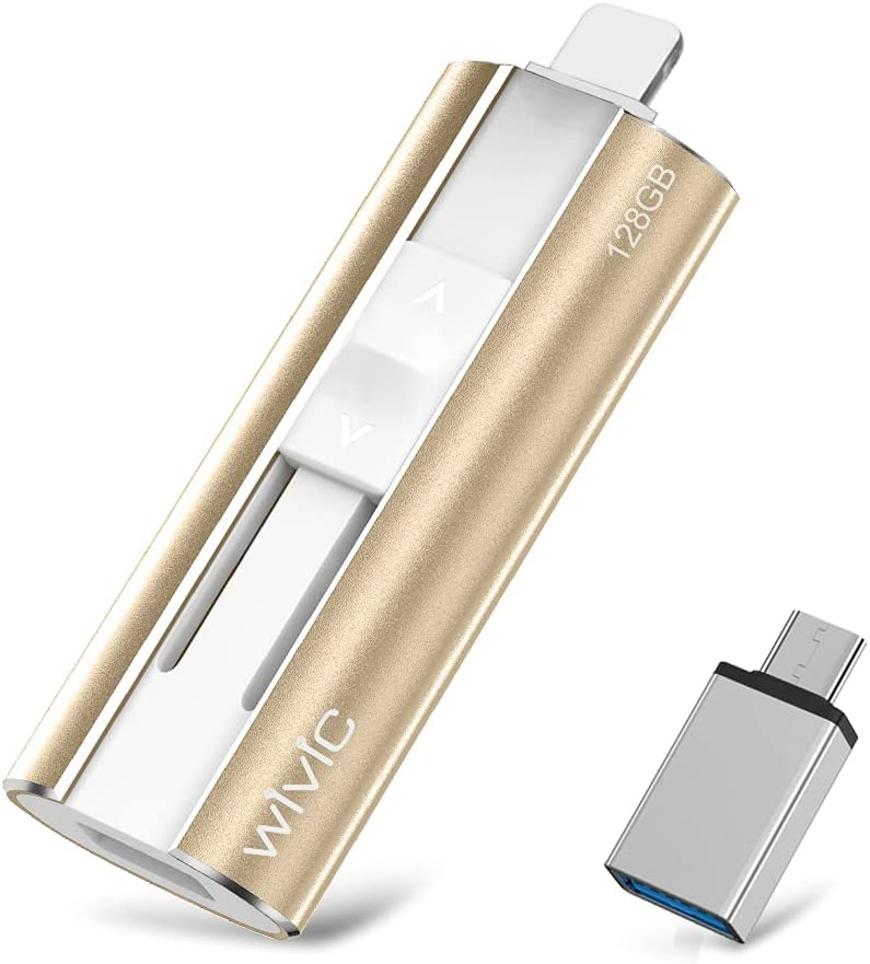 USB 3.0 Flash Drives 128GB, Y-Disk Photo Stick MFi Certified by Apple External Storage Memory Stick for iPhone, iPad, Android, PC and More Devices (Gold)