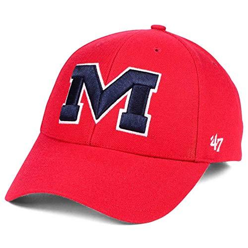 ('47 Mississippi Ole Miss Rebels M Logo MVP Curved Visor Strapback Cap Hat)