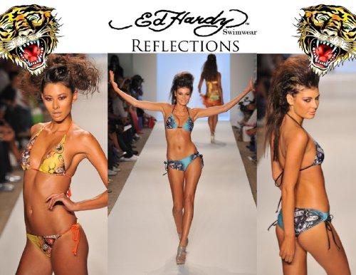 Ed Hardy Reflections Boy Short Swimwear Bottom (Aqua, - Hardy Women Bikini Ed