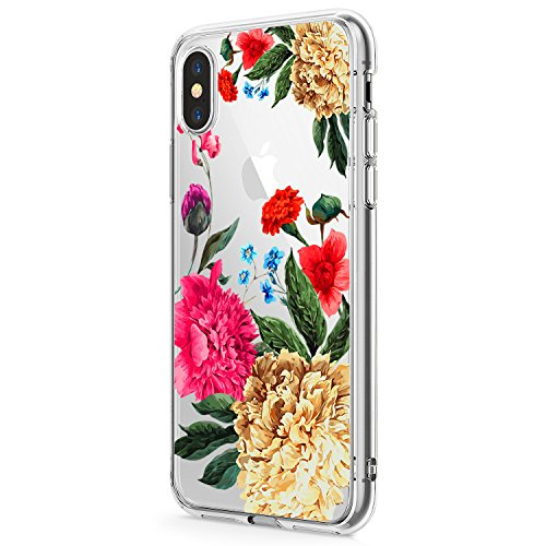 (iPhone XS/XR Case, Clear Soft & Flexible TPU Ultra-Thin Shockproof Transparent Girls and Women Floral Cover for iPhone XS max (iPhoneXR, 8))