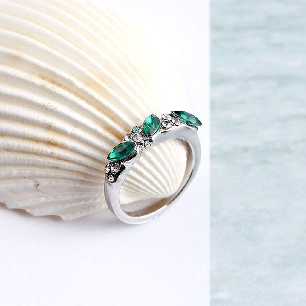 Discountsday Retro Emerald Ring Sweet Diamond Ring for Female Ring Index Finger Decoration Wedding Rings Gift