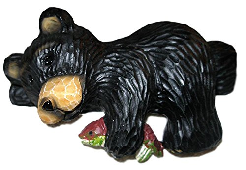 Young's Funny Black Northwood Bear & Fish Resin Shelf Sitter Figurine #1