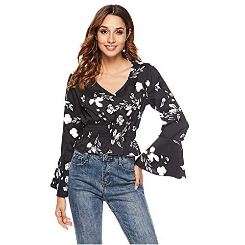 Cenglings Women's V-Neck Floral Print Bell Sleeve Blouse Wrap Front Crop Top Shirts -