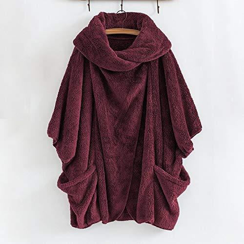 Manteau Pour Décontracté Poches Winkey Grandes Red Femme Roulé À Col Avec dOnHq4