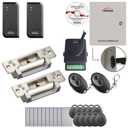 Visionis FPC-6187 Two Door Access Control Electric Strike Fail Safe and Fail Secure TCP/IP RS485 Wiegand Controller Box Software Included EM TK4100 Card Compatible 10,000 Users Wireless Receiver Kit