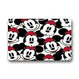 Custom Disney Cartoon Mickey Mouse Machine Washable Top Fabric & Non-slip Rubber Backing Indoor Outdoor Home Office Bathroom Welcome Doormat 23.6x15.7