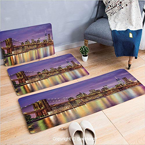 3 Piece Anti-Skid mat for Bathroom Rug Dining Room Home Bedroom,New York,NYC Exquisite Skyline Manhattan Broadway Old Neighborhood Tourist Country Print,Purple Gold,16x24/18x53/20x59 inch