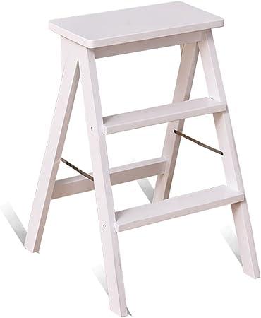 Taburetes Escalera de madera, escalera portátil de la silla plegable Escalera de madera plegable de doble uso Escalera de madera de la escalera de banco Cocina doméstica taburete ascendente taburete d: Amazon.es: