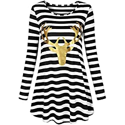 UXELY Deer Shirts for Women, Elk Print Striped Tunic Knit Top,Black White S