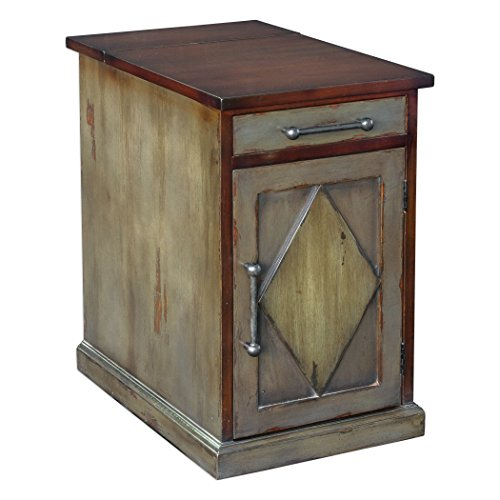 Cottage Cupboard - Country Cottage Accent Cabinet Table | Drawer Shelf Gray Wood Two Tone